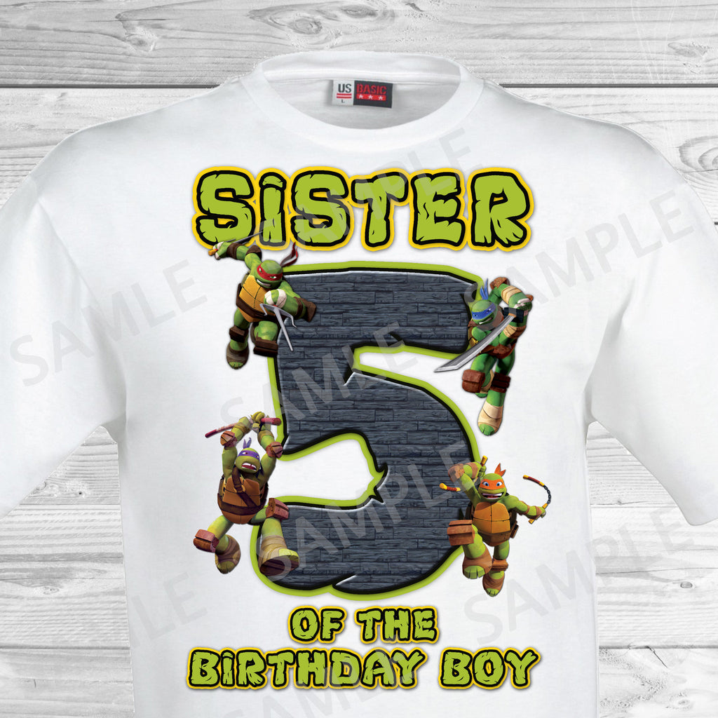 Teenage Mutant Ninja Turtles Iron On. TMNT Ninja Turtles Sister of the Birthday Boy Shirt. Teenage Mutant Ninja Turtles Birthday Party Transfer. TMNT Party.