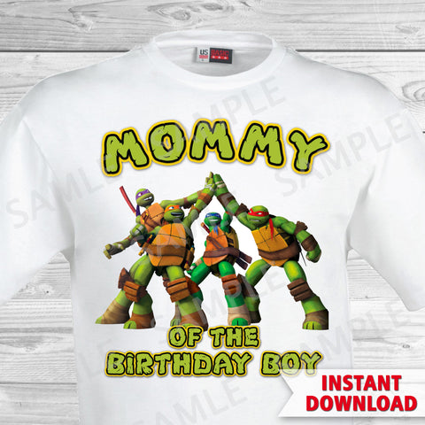 Teenage Mutant Ninja Turtles Mom of the Birthday Boy Shirt. Ninja Turtles Birthday Iron On Transfer. Teenage Mutant Ninja Turtles Birthday Party Transfer. TMNT Party.
