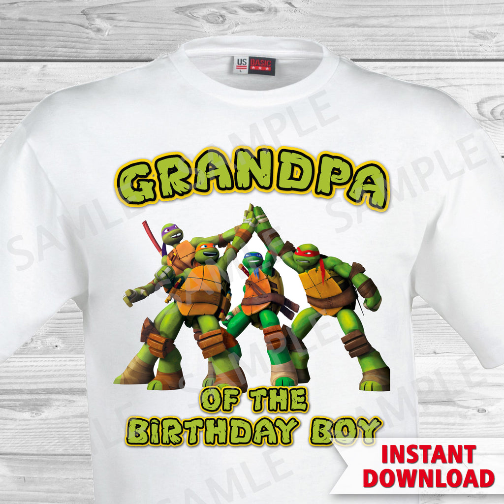 Teenage Mutant Ninja Turtles Grandpa of the Birthday Boy Shirt. Ninja Turtles Birthday Iron On Transfer. Teenage Mutant Ninja Turtles Birthday Party Transfer. TMNT Party.