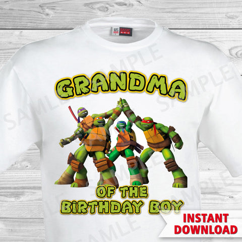 Teenage Mutant Ninja Turtles Grandma of the Birthday Boy Shirt. Ninja Turtles Birthday Iron On Transfer. Teenage Mutant Ninja Turtles Birthday Party Transfer. TMNT Party.