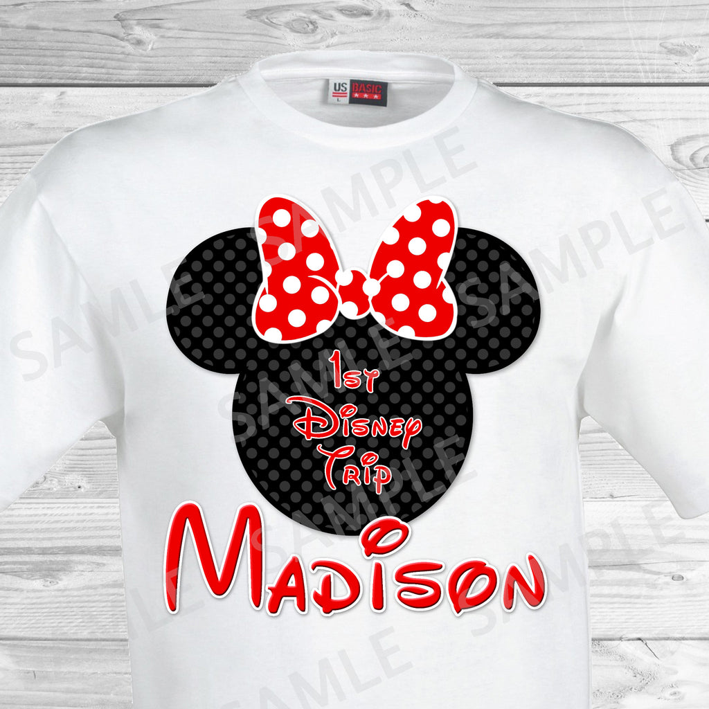 My First Disney Trip. Disney World Family Vacation Iron on. DIY Disney Shirts - Minnie Ears.