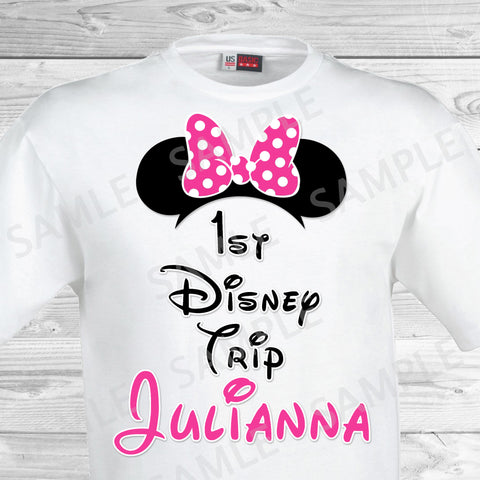 My First Disney Trip Iron On Transfer. Disney World Family Vacation Iron on. DIY Disney Shirts - Minnie Ears.