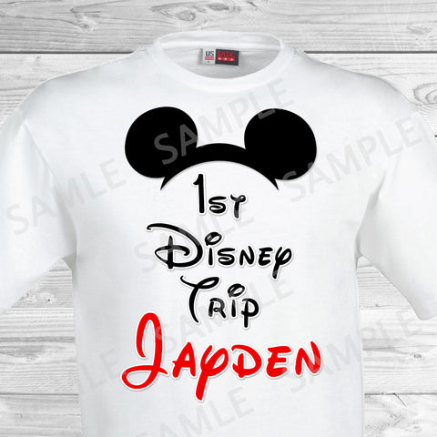 My First Disney Trip Iron On. Disney World Family Vacation Iron on. DIY Disney Shirts - Mickey Ears.