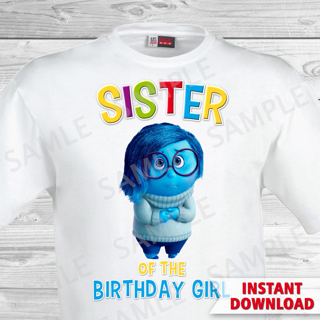 Inside Out Sister Of The Birthday Girl Iron On Transfer. Inside Out T-shirt. Inside Out Birthday Party.