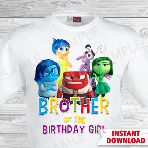 Inside Out Brother Of The Birthday Girl Iron On Transfer. Inside Out T-shirt. Inside Out Birthday Party.