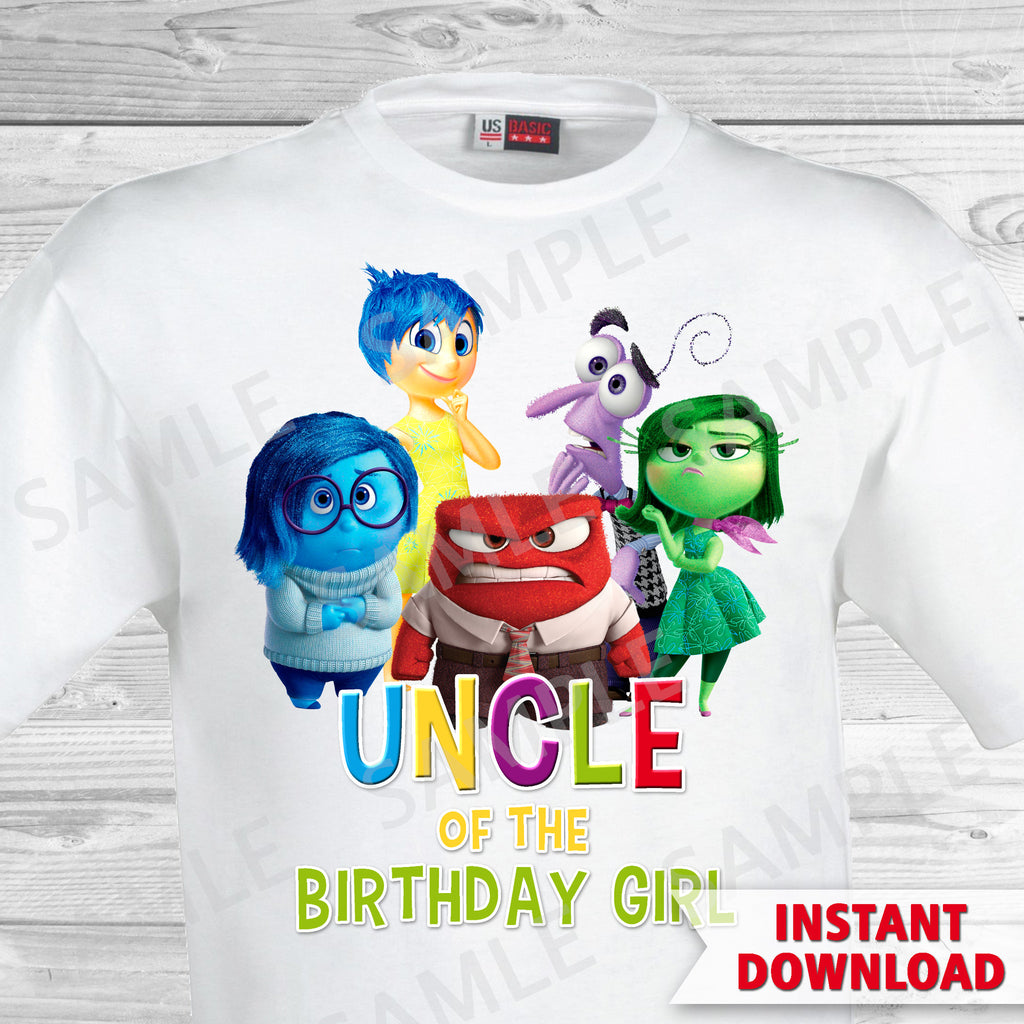 Inside Out Uncle Of The Birthday Girl Iron On Transfer. Inside Out T-shirt. Inside Out Birthday Party.