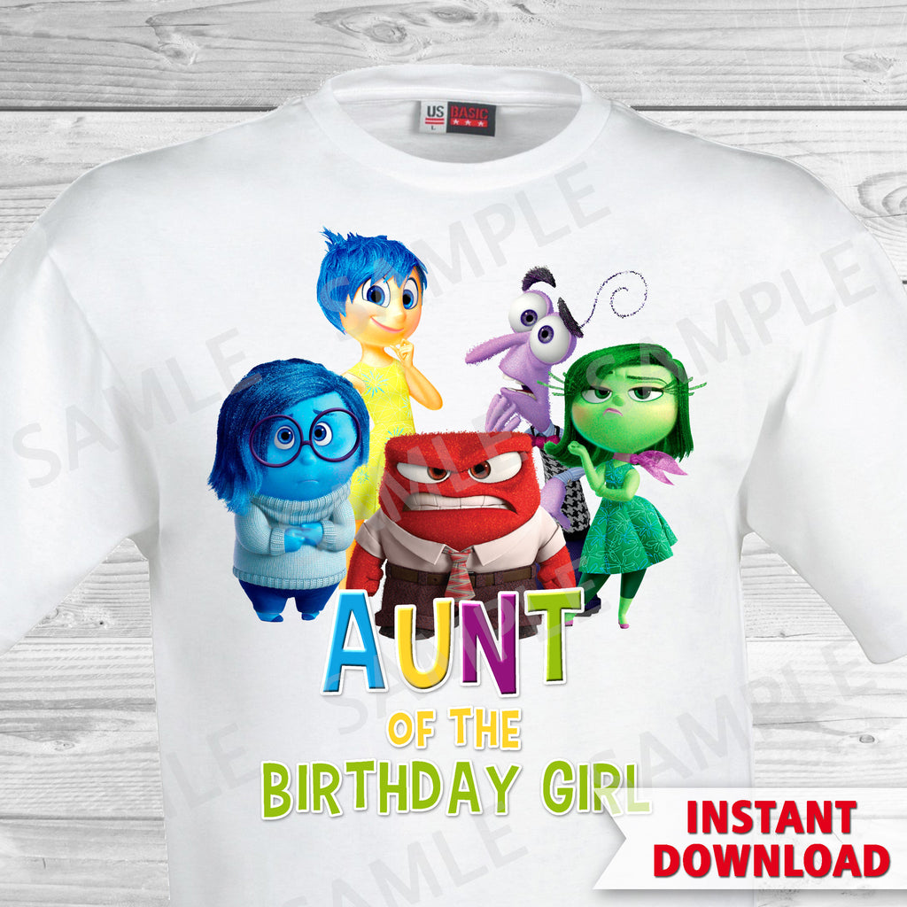 Inside Out Aunt Of The Birthday Girl Iron On Transfer. Inside Out T-shirt. Inside Out Birthday Party.
