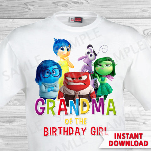 Inside Out Grandma Of The Birthday Girl Iron On Transfer. Inside Out T-shirt. Inside Out Birthday Party.