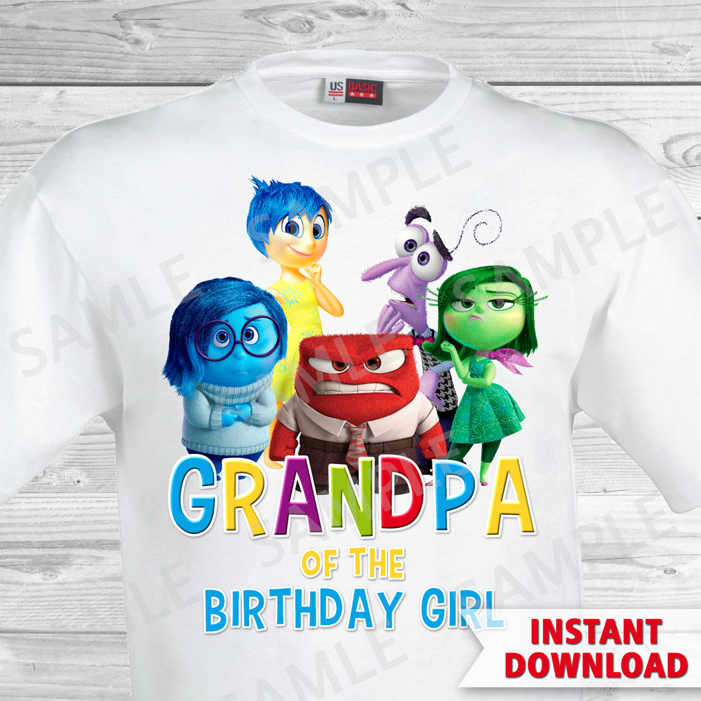 Inside Out Grandpa Of The Birthday Girl Iron On Transfer. Inside Out T-shirt. Inside Out Birthday Party.