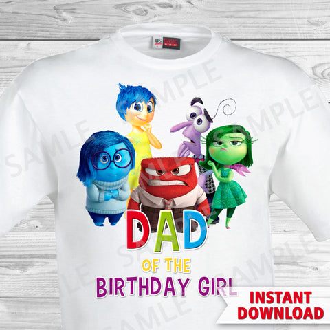 Inside Out Dad Of The Birthday Girl Iron On Transfer. Inside Out T-shirt. Inside Out Birthday Party.