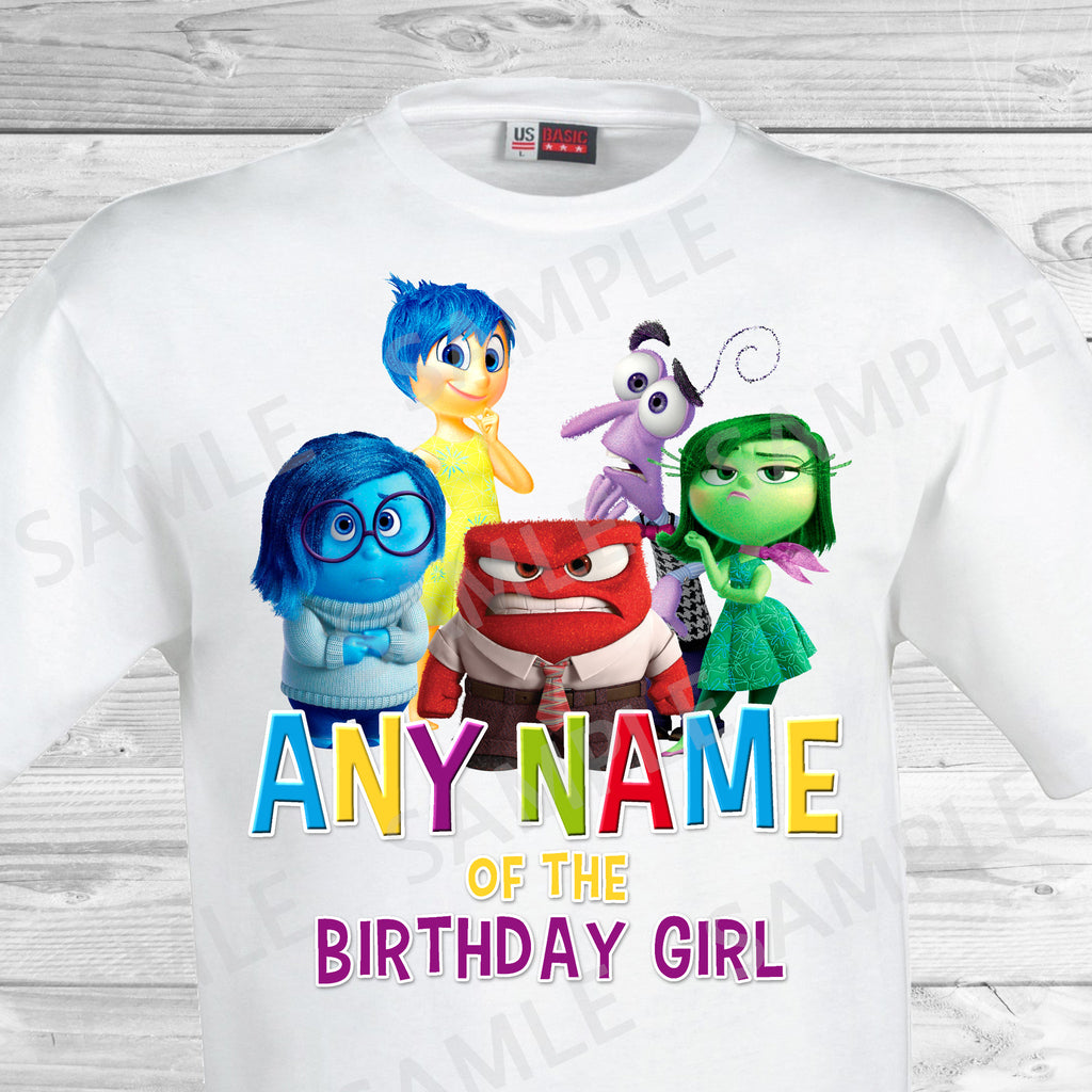 Inside Out Any Name Of The Birthday Girl Iron On Transfer. Inside Out T-shirt. Inside Out Birthday Party.