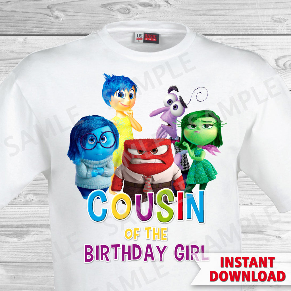 Inside Out Cousin Of The Birthday Girl Iron On Transfer. Inside Out T-shirt. Inside Out Birthday Party.