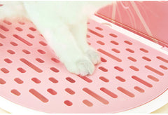 Vetreska Fruity Portable Cat Kitty Toilet Litter Box Tray House Lid Scoop Set Grapefruit