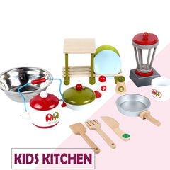 Wooden Kids Kitchen Pretend Play Set Toy Toddler Children Cooking Home Cookware