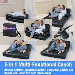 Bestway Inflatable 5 in 1 Multi-functional Couch - black