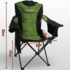 Foldable Folding Camping Chair Retreat Recliner Beach Outdoor Picnic Travel Camp - green