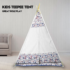 Cotton Canvas Kids Teepee Children Home Pretend Play Tent Indoor Outdoor Party