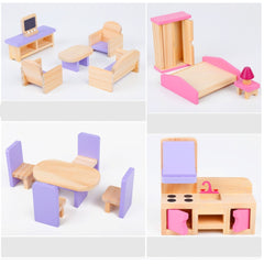 Wooden DIY Dolls Doll House 3 Level Kids Pretend Play Toys Full Furniture Set