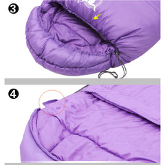 Double Camping Envelope Twin Sleeping Bag Thermal Tent Hiking Winter -10° C - purple