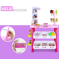 Kids Supermarket Pretend Play Ice cream Dessert Shop Toys Set Scanner Register