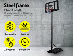 Basketball Hoop Stand System Portable Adjustable Height Ring Backboard Net Rim