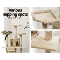 170cm Cat Tree Scratching Post Scratcher Pole Gym Toy House Furniture Multilevel - beige