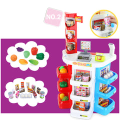 Kids Supermarket Store Food Pretend Role Play Set Cash Shopping Trolley Toys