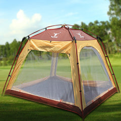 4 - 6 Person Man Family Camping Dome Tent Canvas Swag Hiking Beach Shade Shelter - red