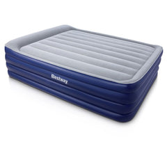 Bestway Queen Inflatable Air Mattress Bed Built-in Electric Pump Flocked Camping