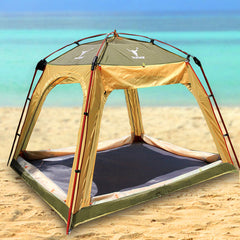 4 - 6 Person Man Family Camping Dome Tent Canvas Swag Hiking Beach Shade Shelter - green