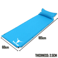 Air Bed Self Inflating Mattress Sleeping Mat Camp Camping Hiking Joinable - blue