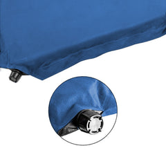 Double Self inflating Suede Mattress Mat Sleeping Pad Air Bed Camping Hiking - blue