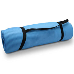 10mm Extra Thick NBR Yoga Mat Gym Pilates Fitness Exercise - blue