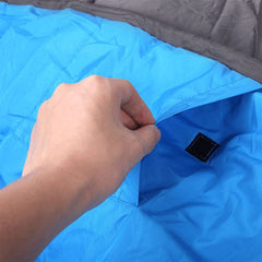 Double Camping Envelope Twin Sleeping Bags Thermal Hiking Summer Compact - blue