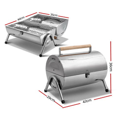 Stainless Steel BBQ Barrel Charcoal Smoker Portable Foldable Barbecue Camping Picnic
