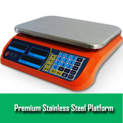 Kitchen Scale Digital Commercial Postal Shop Electronic Weight Scales Food 40KG - orange