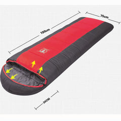 Double Camping Envelope Twin Sleeping Bag Thermal Tent Hiking Winter 0° C - red