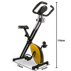 Folding Magnetic Upright Bicycle Training Fitness Stationary Flywheel X-Bike - yellow