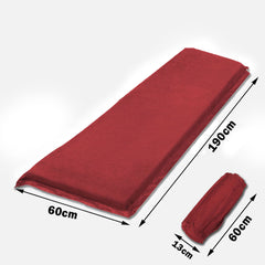 Self Inflating Mattress Sleeping Suede Mat Air Bed Camping Camp Hiking Joinable - red