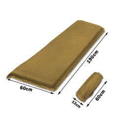 Self Inflating Mattress Sleeping Suede Mat Air Bed Camping Camp Hiking Joinable - beige