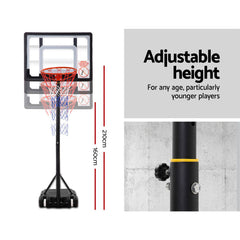 Adjustable Portable Height Kids Basketball Stand System Net Rim Ring Hoop Set