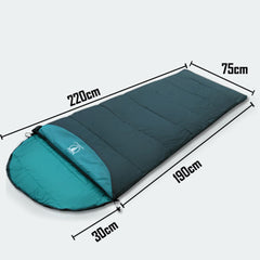 Outdoor Camping Envelope Sleeping Bag Thermal Tent Hiking Winter Single - green