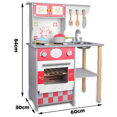 Kids Wooden Kitchen Pretend Play Set Toy Toddlers Children Cooking Home Cookware