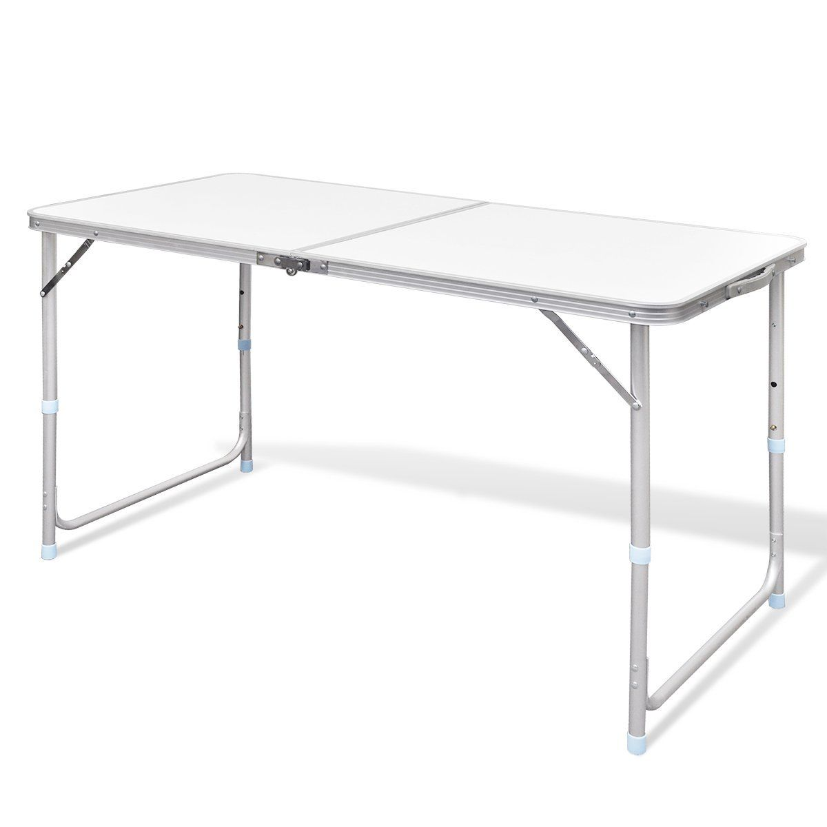 Aluminium Folding Portable Garden Camping Picnic BBQ Table Height Adjustable 120 x 60 cm - white