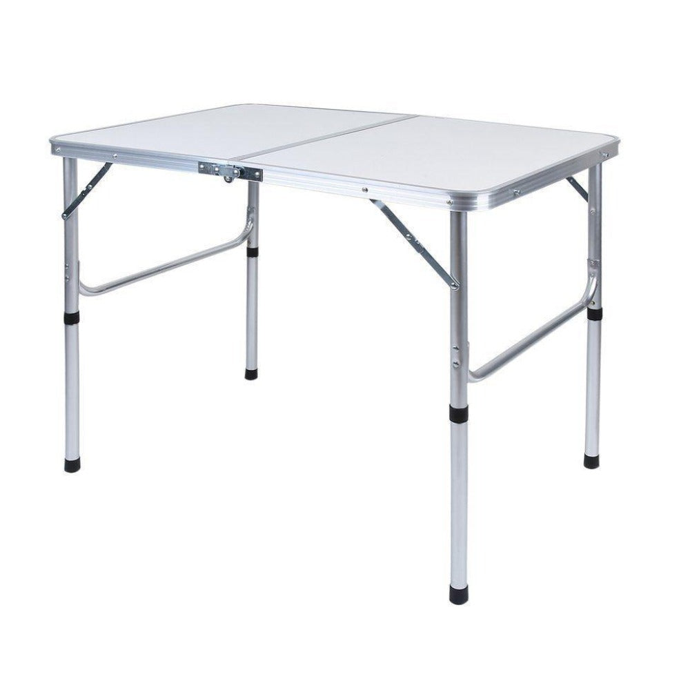 Aluminium Folding Portable Garden Camping Picnic BBQ Table Height Adjustable 90 x 60 cm - white