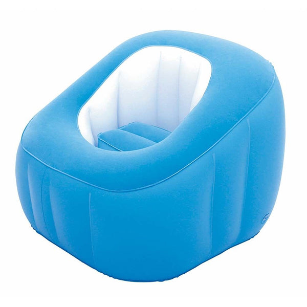 Bestway Cube Inflatable Air Chair Ottoman Indoor Outdoor - blue