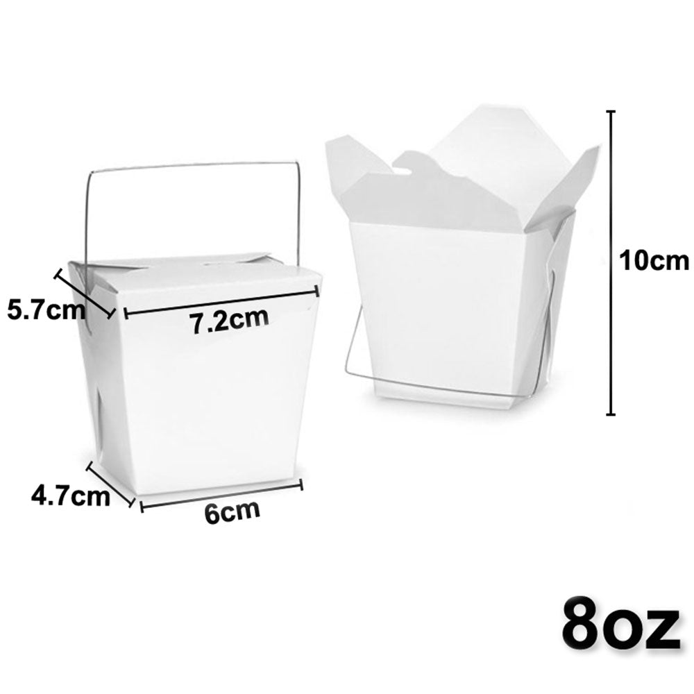 Bulk Packs 200 pcs White Noodle Box Pail With Metal Wire Handle