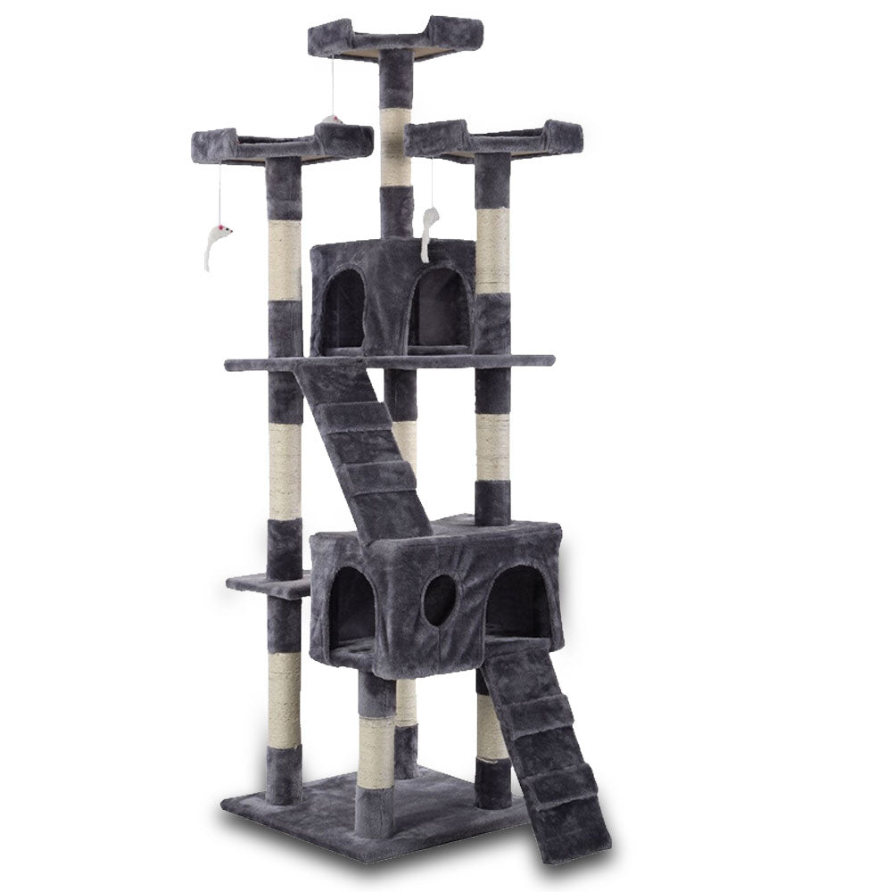 170cm Cat Tree Scratching Post Scratcher Pole Gym Toy House Furniture Multilevel - grey