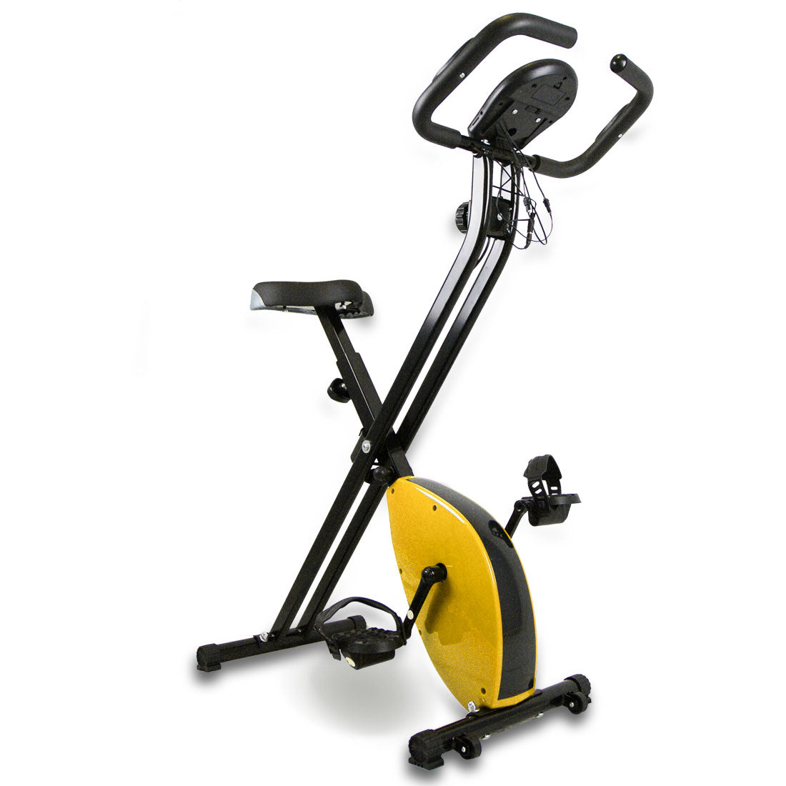 Folding Magnetic Upright Bicycle Training Fitness Stationary Flywheel X-Bike Yellow