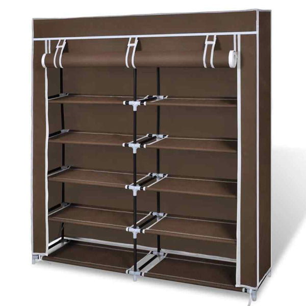 2 Doors with Cover Portable Storage Shoe Rack Cabinet Wardrobe - brown